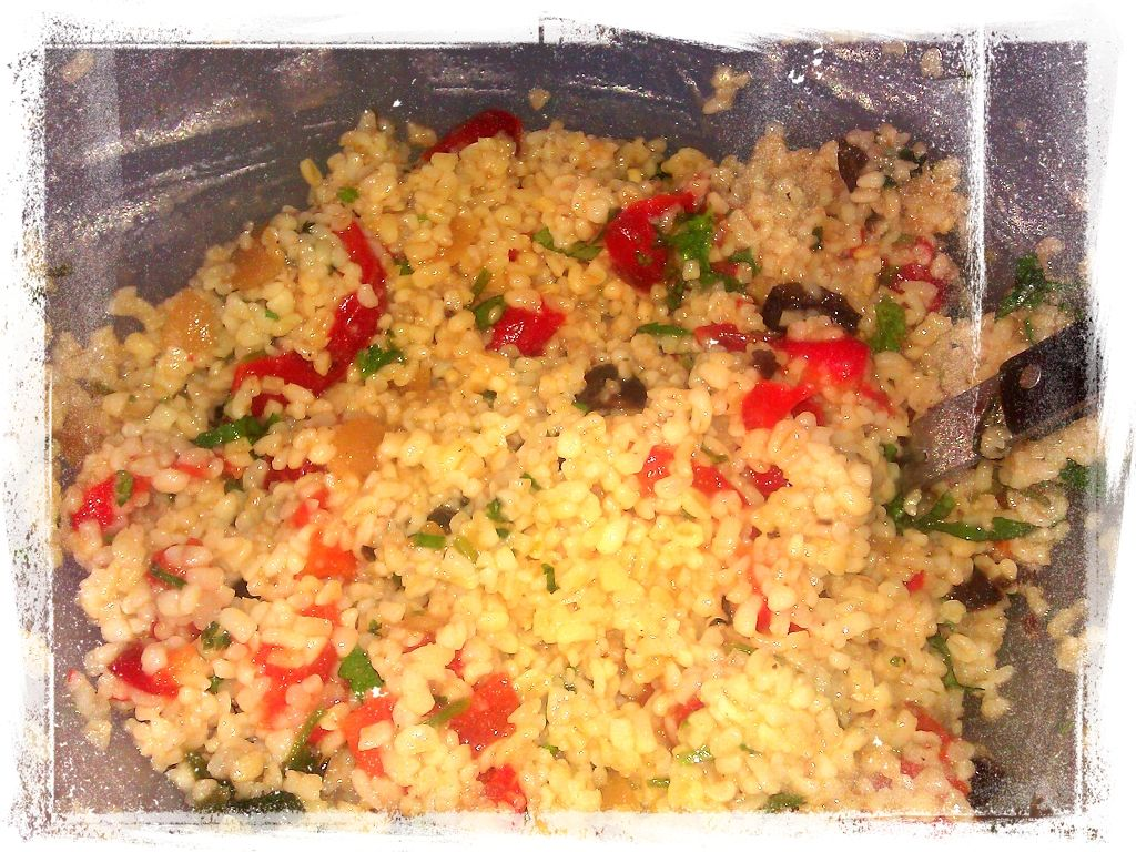 Bulgur Salad with Cucumbers, Red Peppers, Chick Peas ...